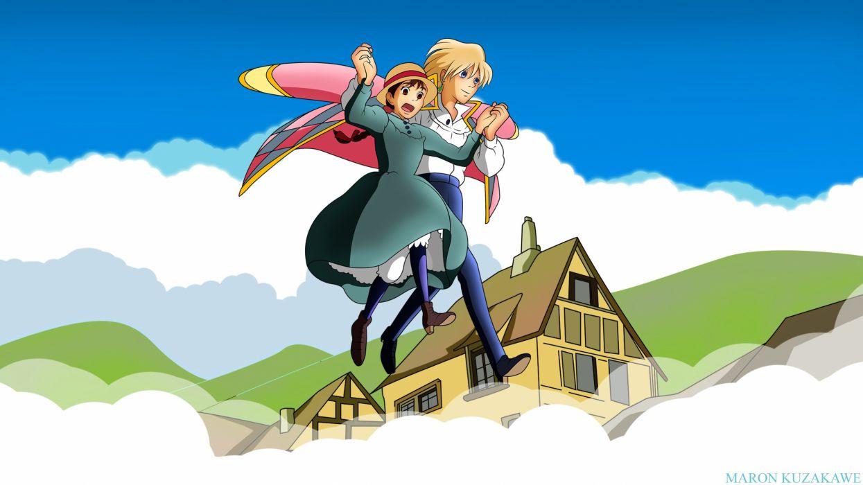 blonde hair building clouds dress ghibli hat howls moving castle kuzakawe maron male sophie hatter wallpaper