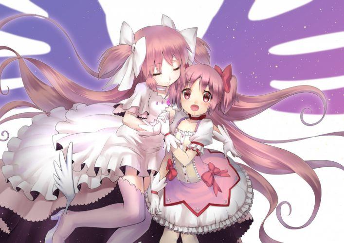 dress kaname madoka mahou shoujo madoka magica pink hair rin2008 thighhighs ultimate madoka wings wallpaper