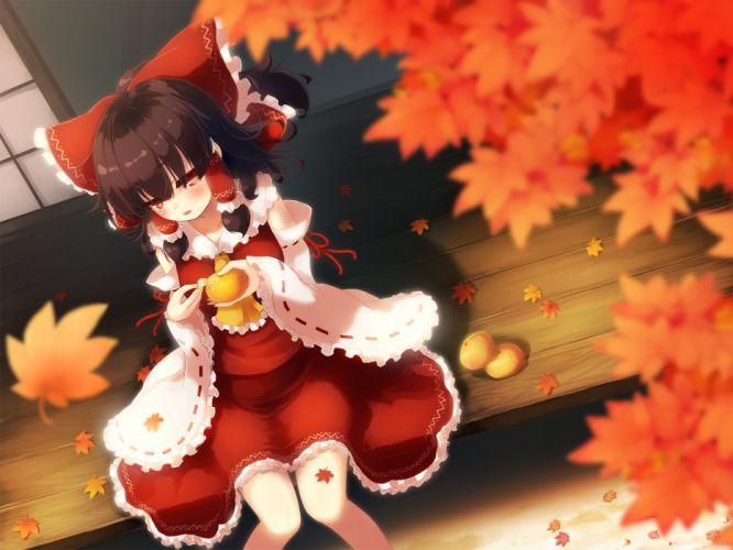 autumn fruit gengetsu chihiro hakurei reimu japanese clothes leaves miko orange (fruit) touhou wallpaper