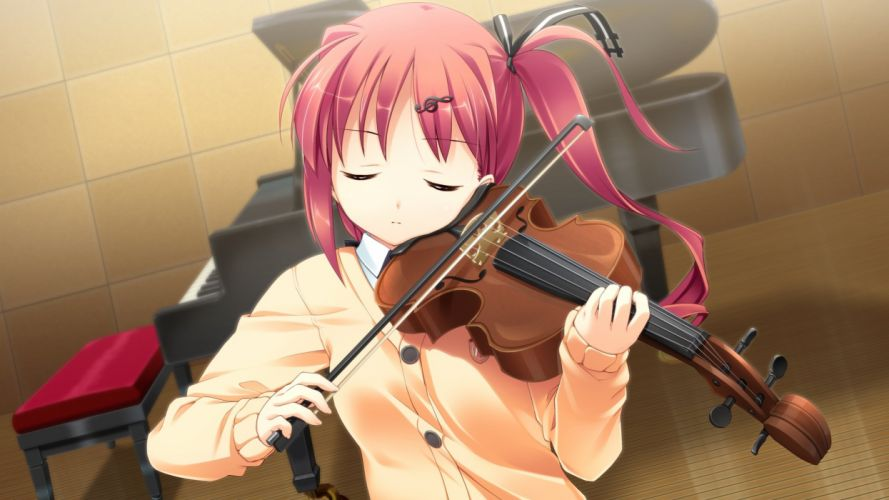 alcot game cg instrument nonomiya ai piano pink hair seifuku shunki gentei poco a poco takoyaki (roast) violin wallpaper