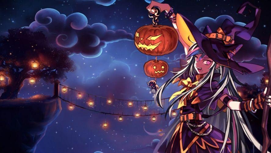 dangan-ronpa dangan-ronpa 2 halloween hat long hair mioda ibuki monokuma night pumpkin rea9420 witch witch hat wallpaper