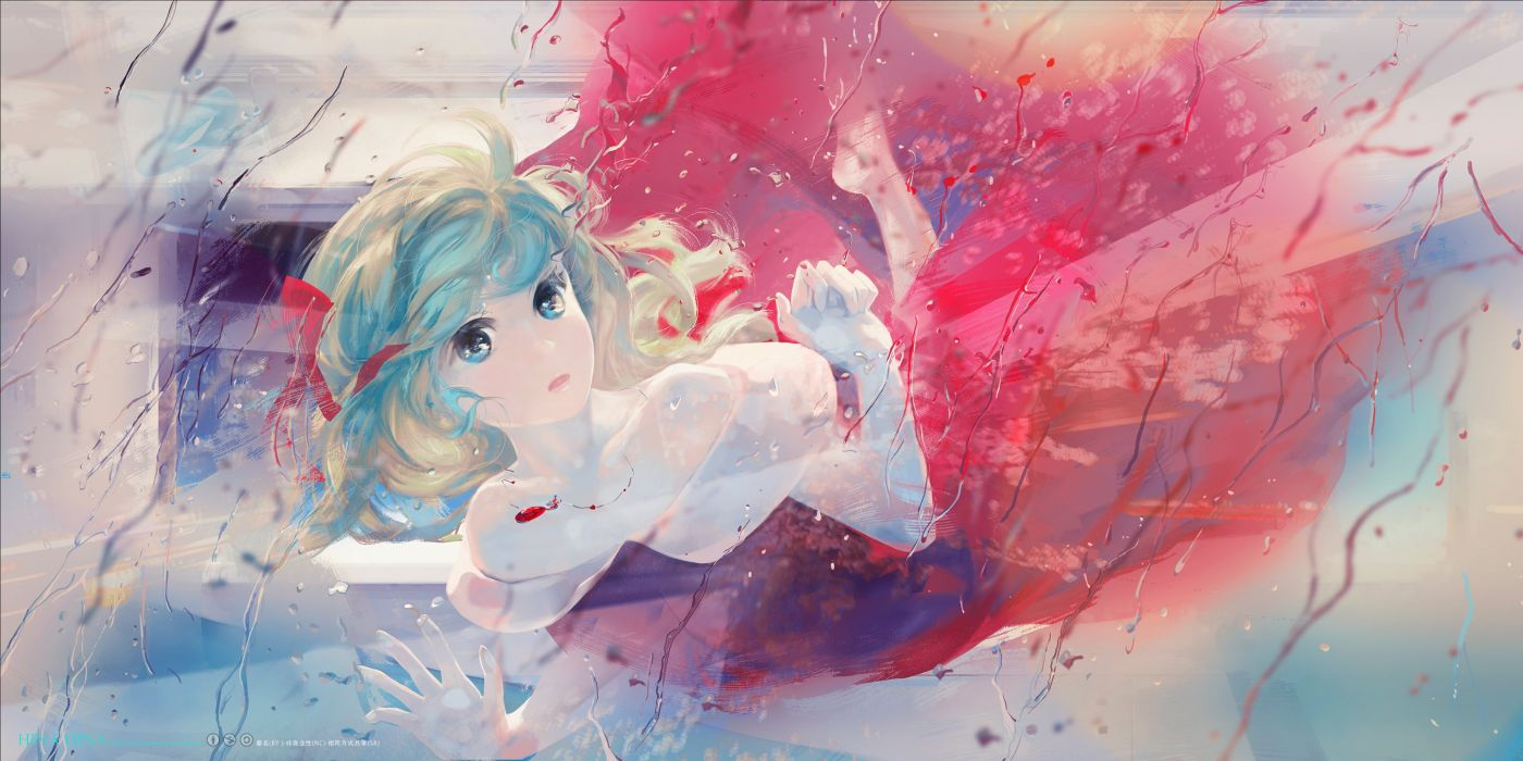 aqua eyes aqua hair barefoot blonde hair jq kagiyama hina necklace touhou underwater water wallpaper