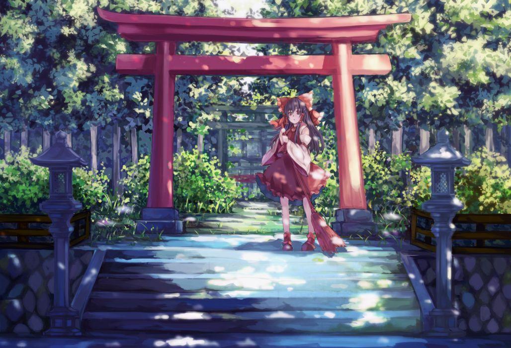 bow dead line hakurei reimu japanese clothes long hair miko scenic stairs torii touhou tree wallpaper