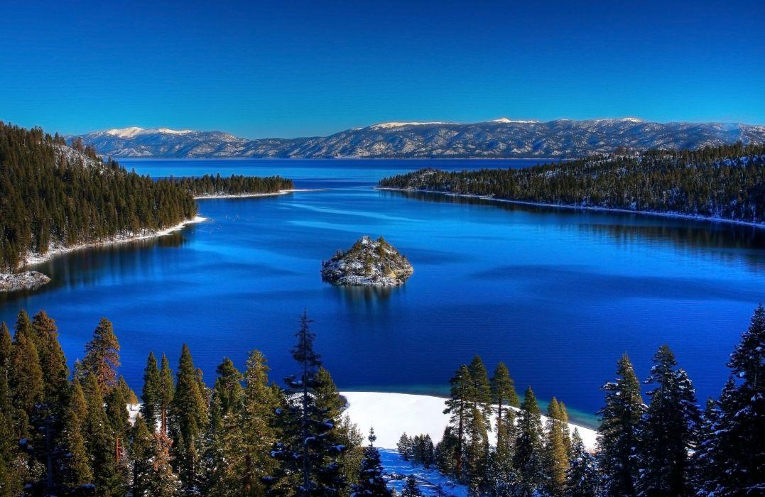lago bosque isleta naturaleza paisaje wallpaper