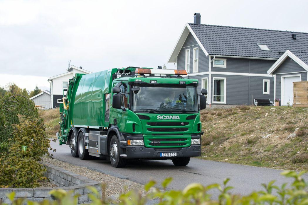 2015 Scania P340 6x2 CNG Rolloffcon semi tractor wallpaper