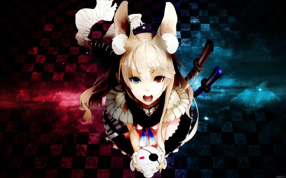 Anime Bunny Girl Skirt Blonde Hair Red And Blue Eyes Wallpaper