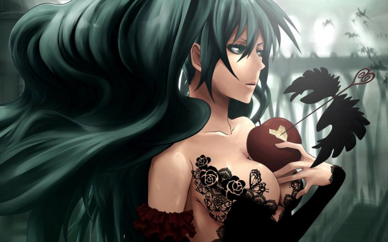 Hatsune Miku vocaloid black dress with apple wallpaper