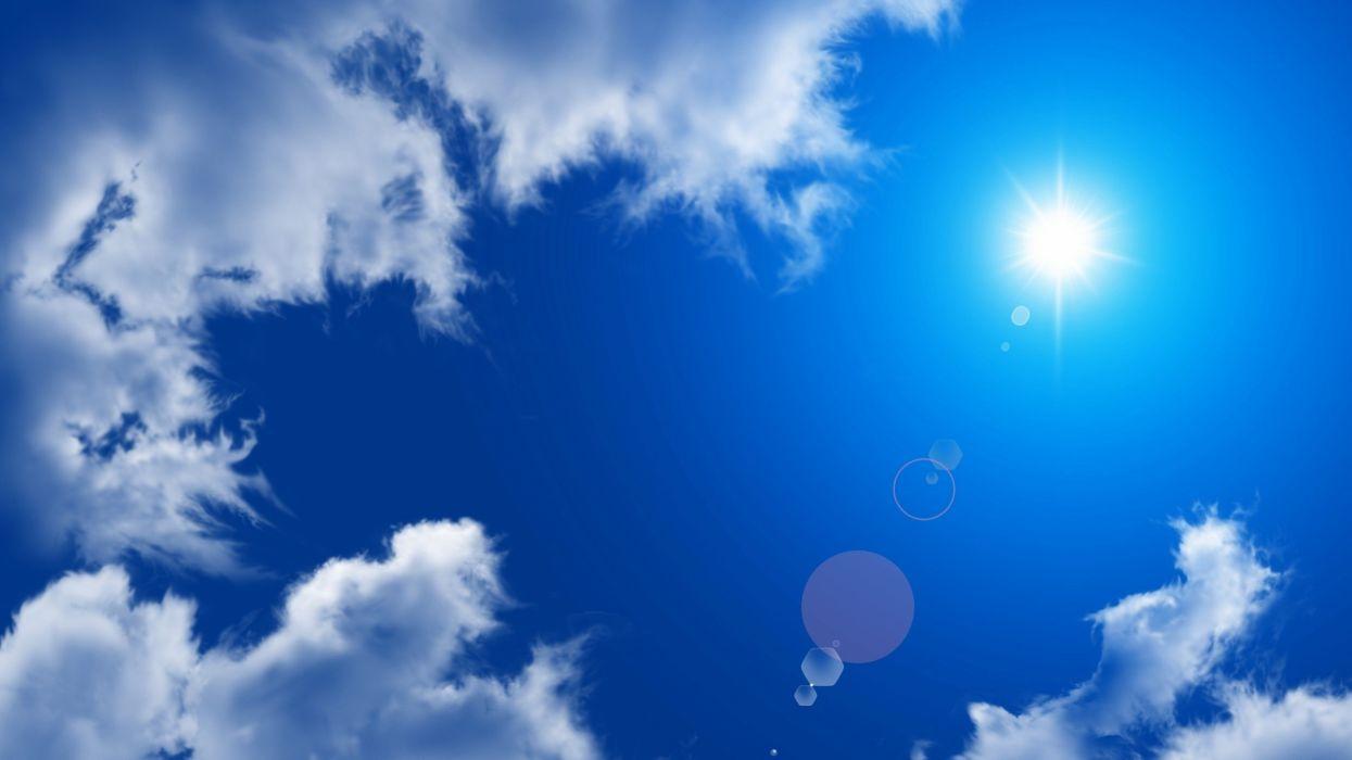 cielo azul nubes sol wallpaper