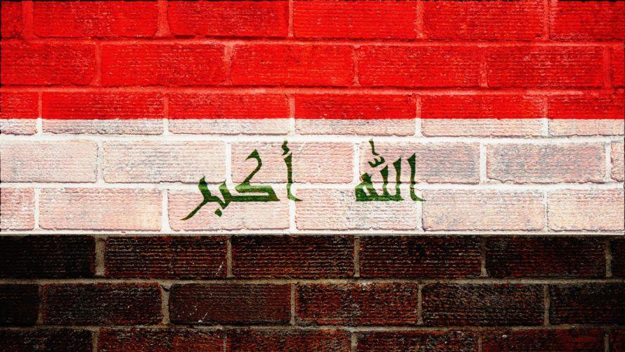 iraqi iraq iraqian flag glags arabic wall walls textures bricks brick 2048x1152 wallpaper