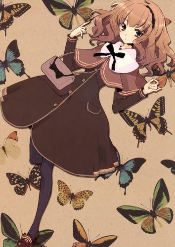 cute anime girl beautiful long hair dress animal butterfly wallpaper