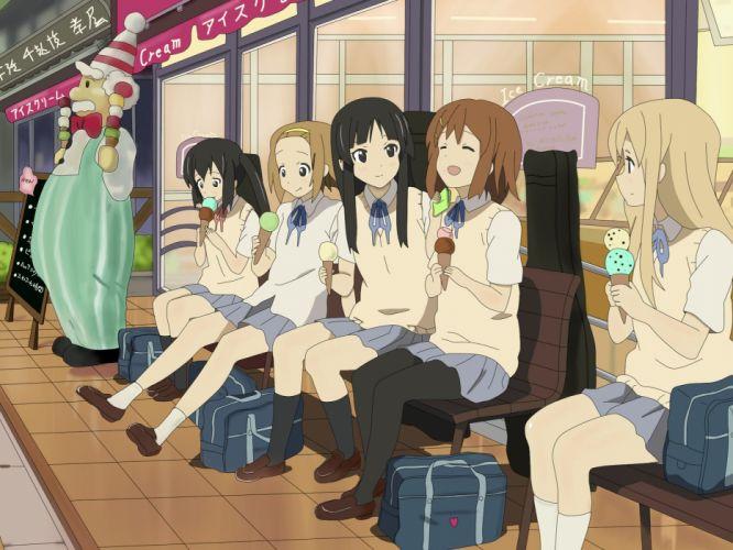 cute anime girl beautiful long hair school uniform group series k-on girls wallpaper