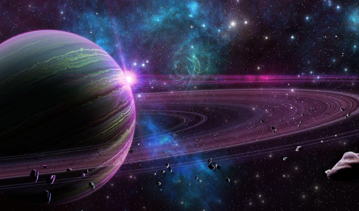 saturno aros estrellas espacio naturaleza wallpaper