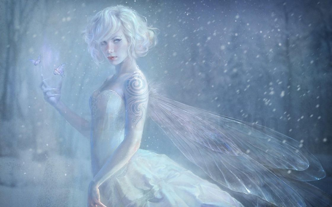 winter snow landscape nature artwork fairy girl wallpaper