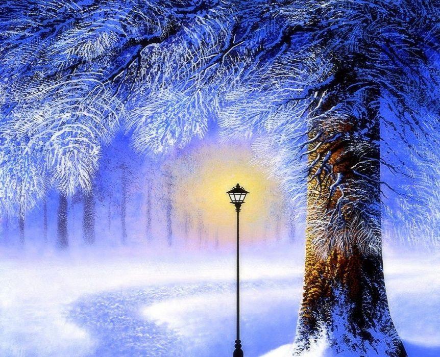 winter snow landscape nature lamp light artwork wallpaper
