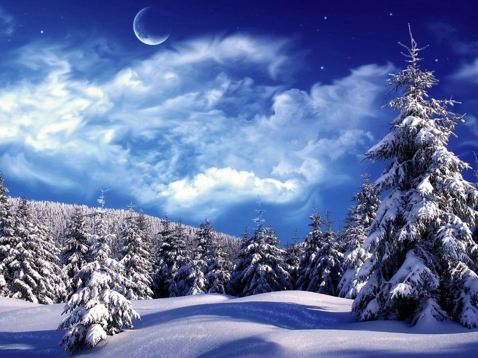 winter snow landscape nature moon wallpaper