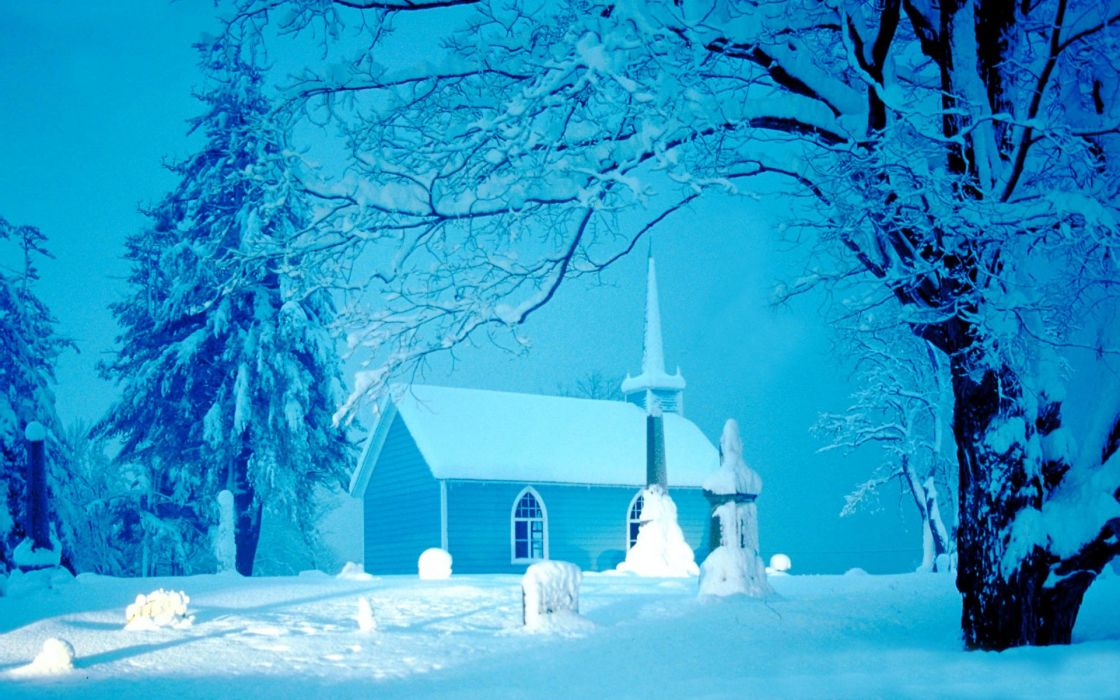winter snow landscape nature church wallpaper