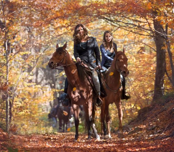 AUTUMN fall landscape nature tree forest leaf leaves women woman girl mood horse wallpaper