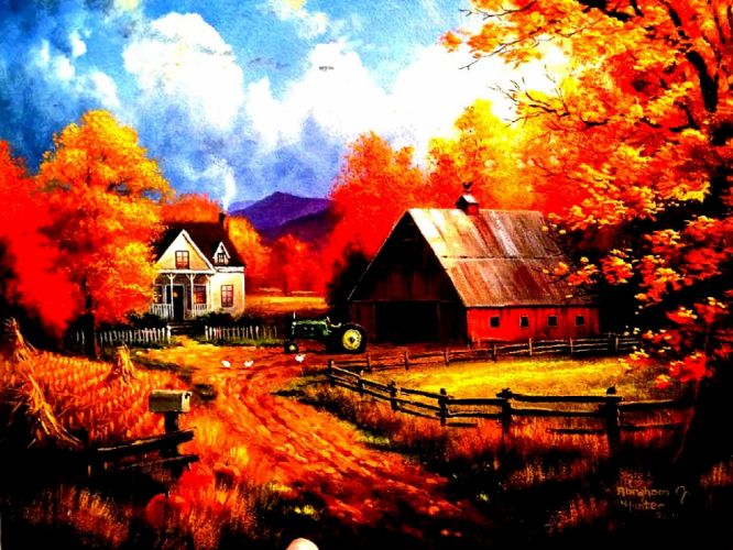 AUTUMN fall landscape nature tree forest leaf leaves farm house tractor rustic artwork wallpaper