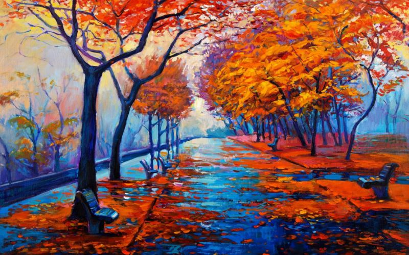AUTUMN fall landscape nature tree forest leaf leaves path trail artwork rain wallpaper