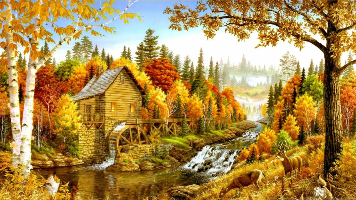 AUTUMN fall landscape nature tree forest leaf leaves path trail artwork rustic frm mill waterfall river wallpaper