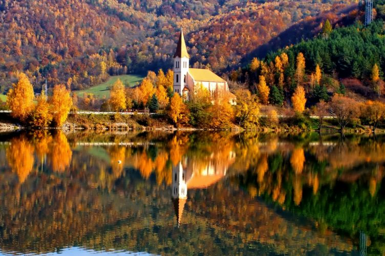 AUTUMN fall landscape nature tree forest leaf leaves path reflection lake religion church wallpaper