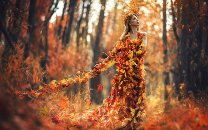 AUTUMN fall landscape nature tree forest leaf leaves path trail mood women woman fantasy female girl wallpaper