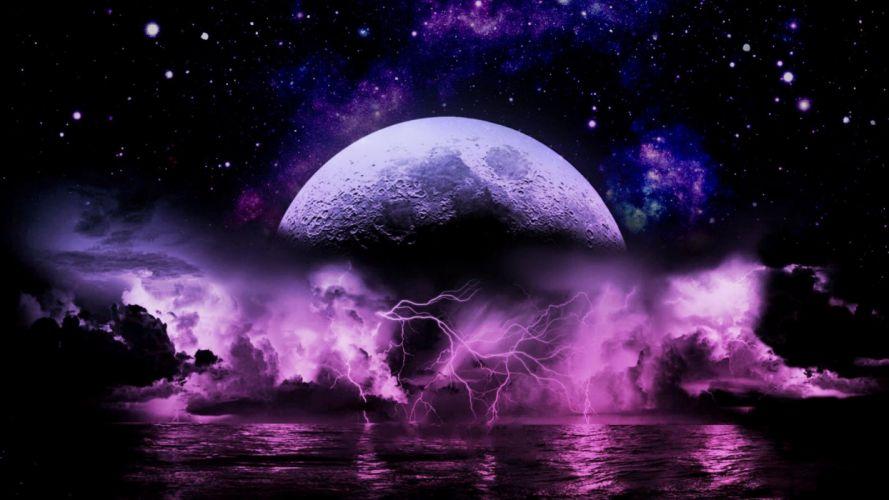 STORM weather rain sky clouds nature fantasy artwork moon lightning wallpaper