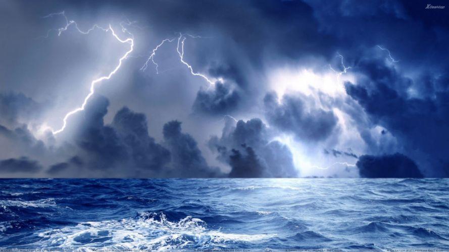 STORM weather rain sky clouds nature ocean sea lightning wallpaper