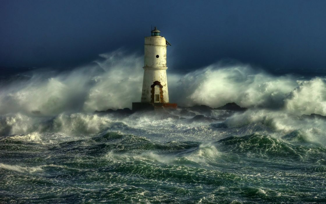 STORM weather rain sky clouds nature ocean sea lighthouse wallpaper