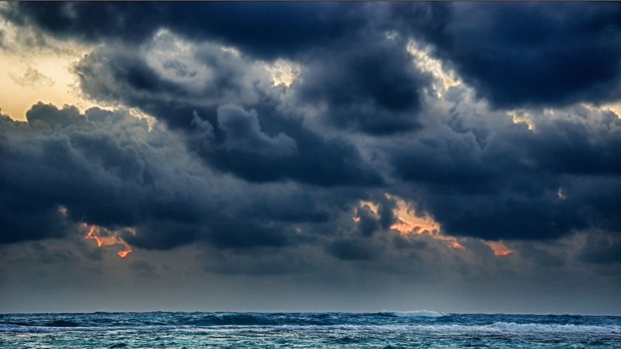 STORM weather rain sky clouds nature sea ocean wallpaper