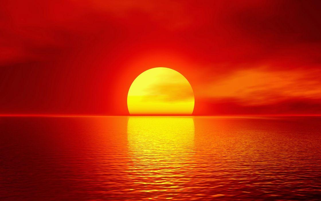 puesta de sol rojo mar cielo wallpaper
