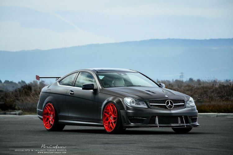 Black Mercedes-Benz C63 AMG cars coupe modified wallpaper
