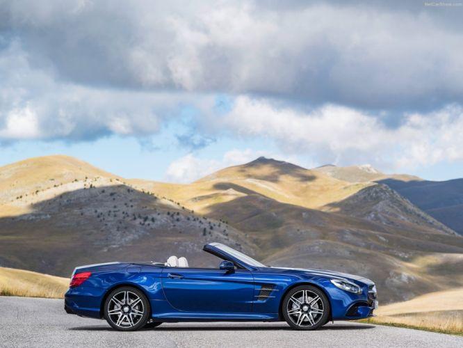 2016 cars convertible Mercedes roadster SL-500 blue wallpaper
