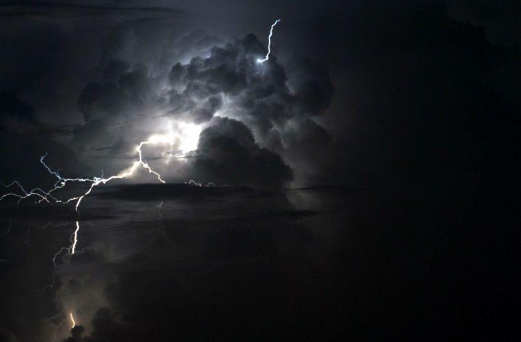 STORM weather rain sky clouds nature sea ocean lightning wallpaper