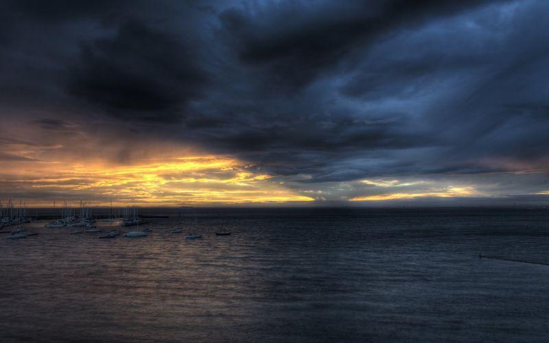 STORM weather rain sky clouds nature sea ocean sunset sunrise reflection wallpaper