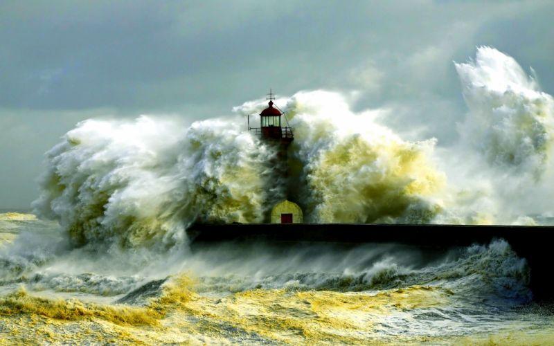 STORM weather rain sky clouds nature sea ocean waves lighthouse wallpaper