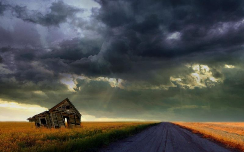 STORM weather rain sky clouds nature road landscape house ruins wallpaper