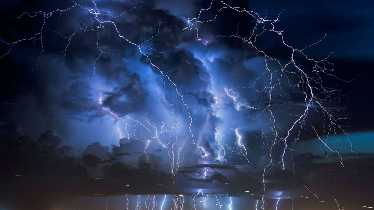 STORM weather rain sky clouds nature lightning city cities landscape night wallpaper