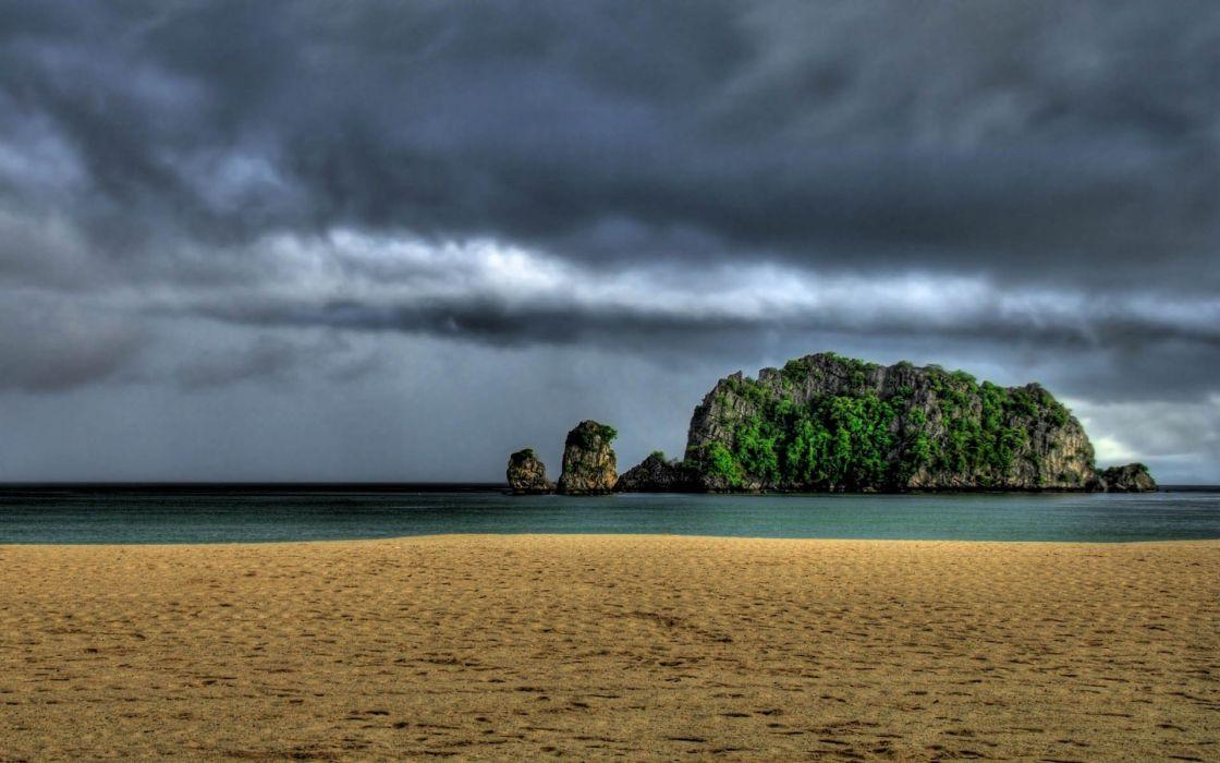 STORM weather rain sky clouds nature ocean sea beach wallpaper