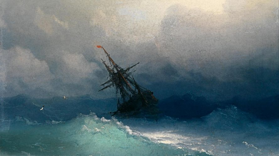 STORM weather rain sky clouds nature sea ocean ship waves artwork painting religion god jesus wallpaper