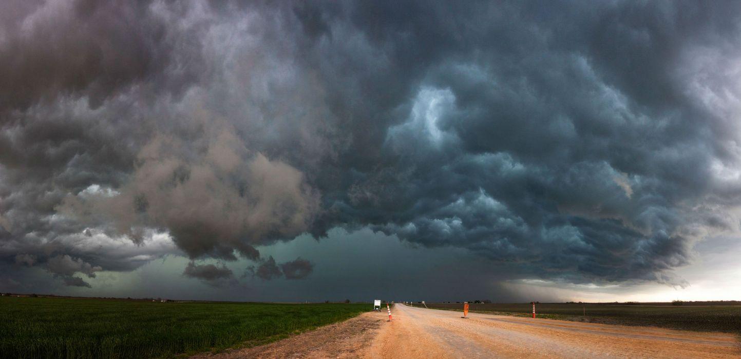 STORM weather rain sky clouds nature landscape road wallpaper