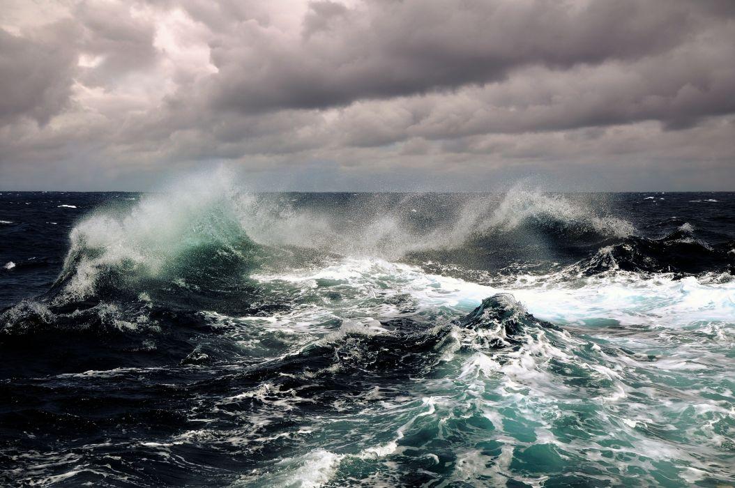 STORM weather rain sky clouds nature sea ocean waves wallpaper