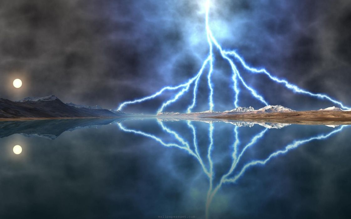 STORM weather rain sky clouds nature lightning reflection mountains wallpaper