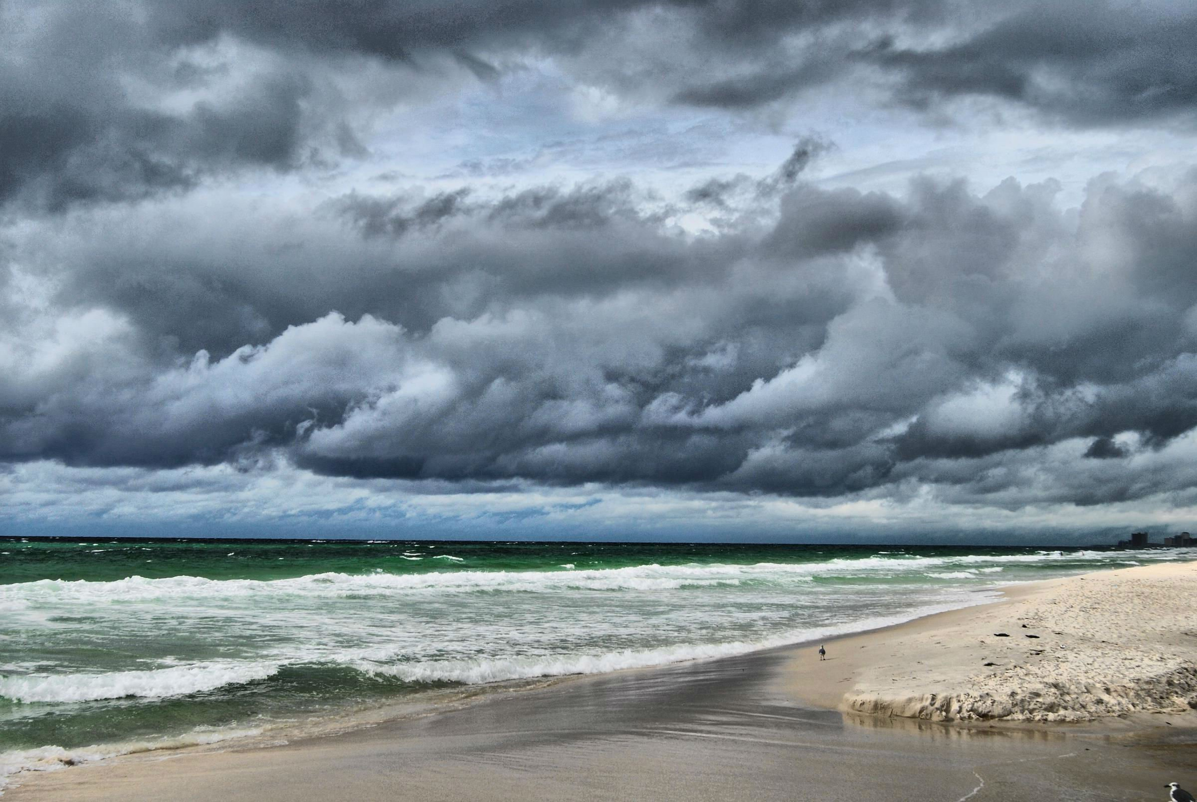 storm weather rain sky clouds nature sea ocean beach waves