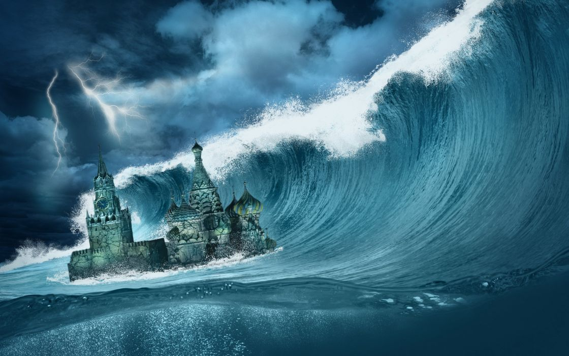 STORM weather rain sky clouds nature apocalyptic fantasy sci-fi ocean sea waves wallpaper