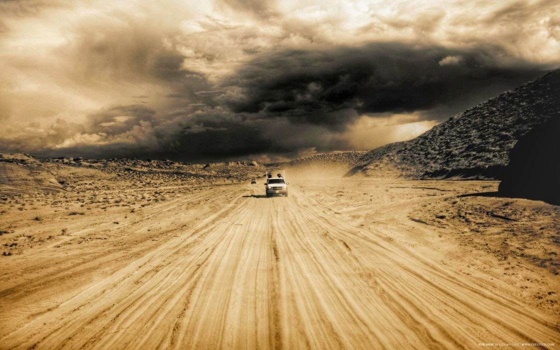 STORM weather rain sky clouds nature desert sand road wallpaper