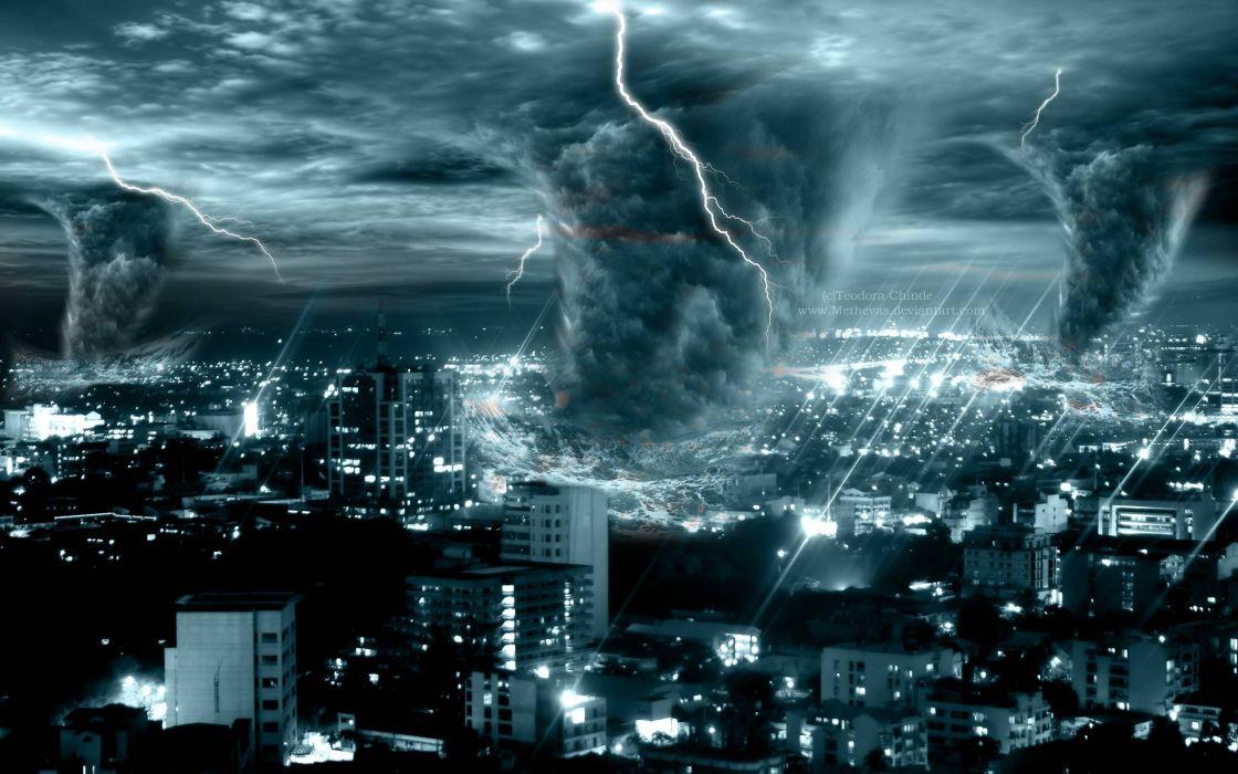 STORM weather rain sky clouds nature lightning sci-fi fantasy tornado apocalyptic wallpaper