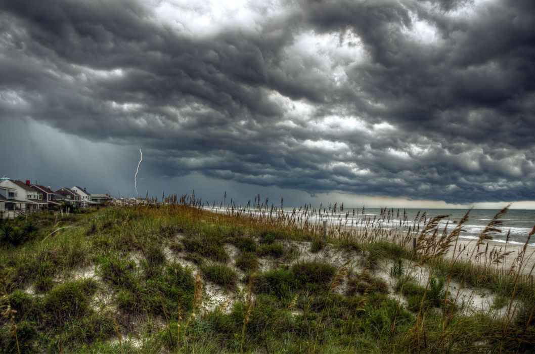 STORM weather rain sky clouds nature ocean sea waves beach wallpaper