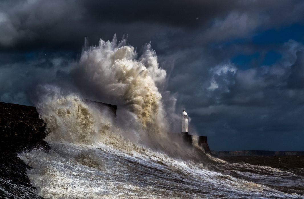 STORM weather rain sky clouds nature ocean sea waves lighthouse wallpaper