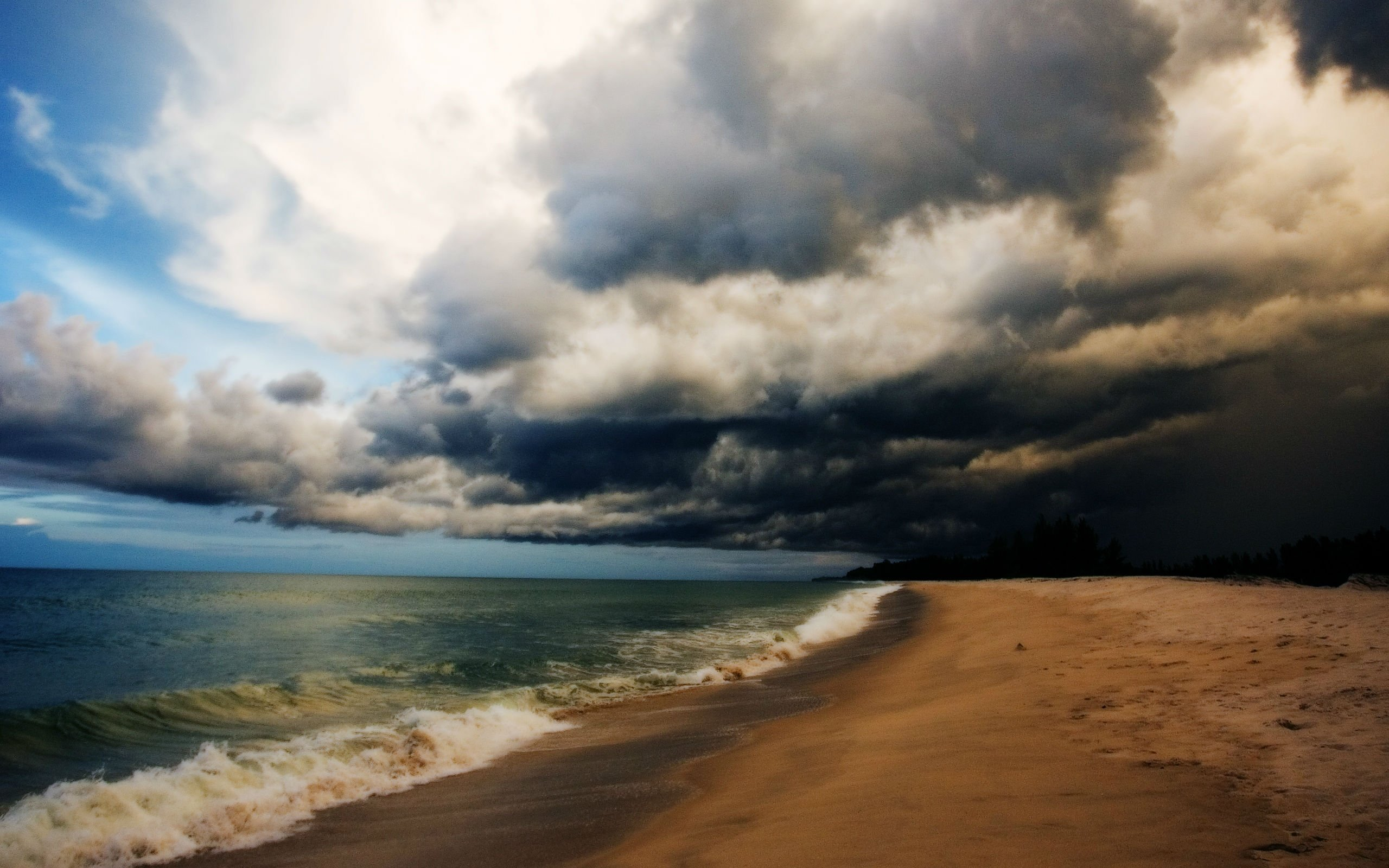 Beach Thunderstorm Wallpaper: STORM Weather Rain Sky Clouds Nature Ocean Sea Waves Beach